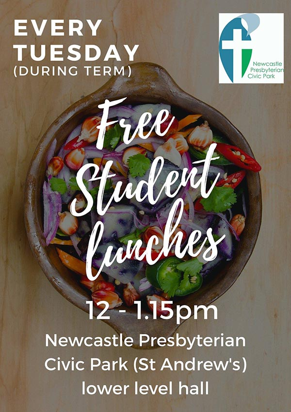 Free lunch 12pm Tuesday during semester at Newcastle Presbyterian Civic Park